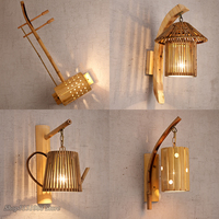 New Chinese Style Wooden Wall Lamps Vintage Hand Made Sconce Bedroom Living Room Wall Lights Corridor Decor Lighting Fixtures