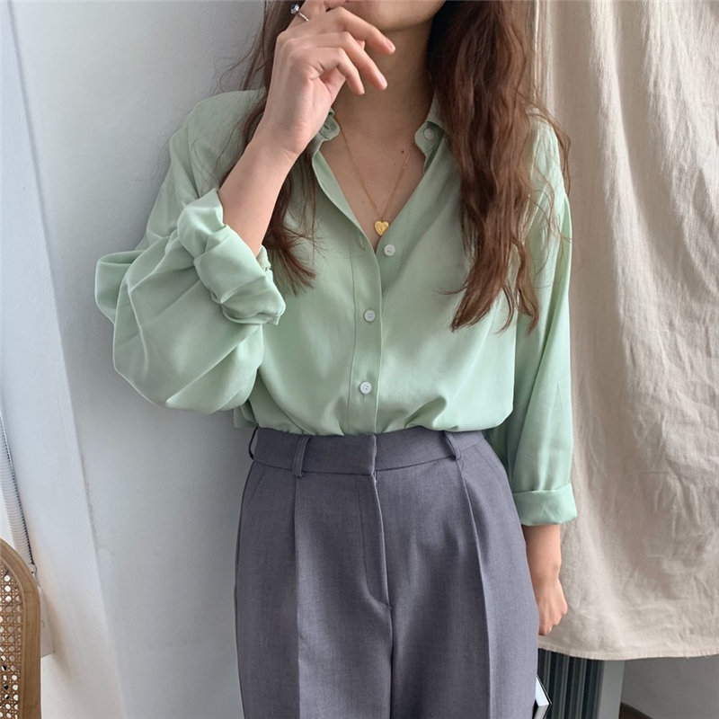 HziriP 2020 Hot Green Solid All-Match High Quality Loose Blouses Sweet Full Sleeves Fresh Elegant Chic Casual Office Lady Shirts