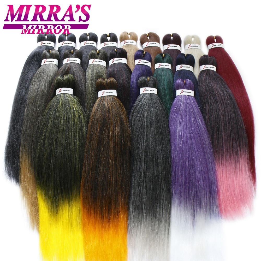 Espelho de cabelo sintético, cabelo pré esticada trançado ez trança sintético crochê extensões