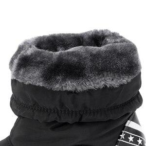Image 5 - ウェッジ雪のブーツ女性の冬のダウンロング暖かいフラットシューズ女性 A324 ファッション女性ブラックホワイトレッドラウンドトゥプラットフォームアンクルブーツ
