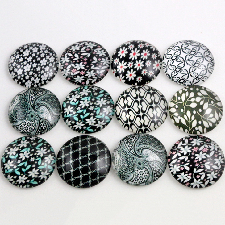 10pcs 20mm And 25mm New Fashion Mixed Handmade Photo Glass Cabochons Pattern Domed Jewelry Accessories Supplies