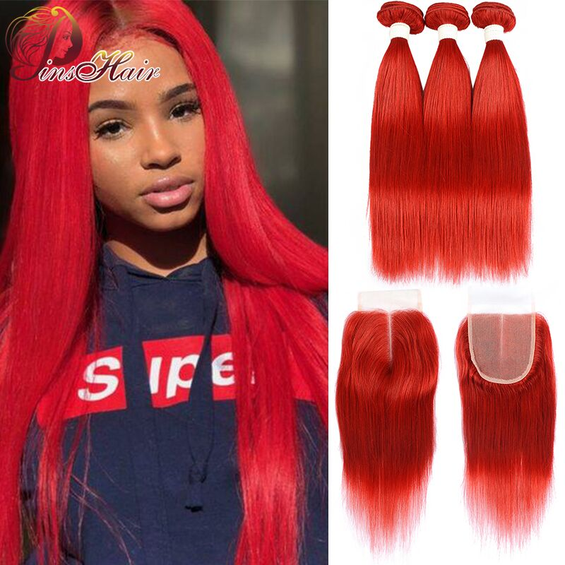 Pinshair Red Straight Hair Bundles With Closure 99J Burgundy Brazilian Human Hair 3 Bundles With Closure Non-Remy Hair 10-26inch