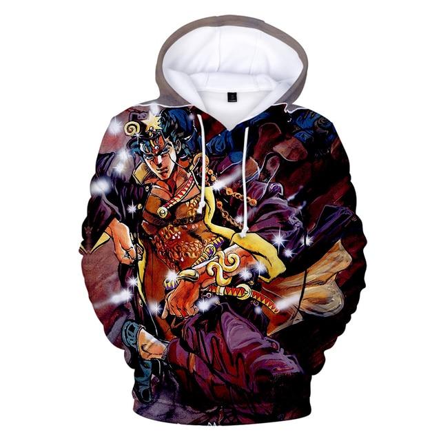 JoJo's Bizarre Adventure Hoodie Sweatshirt Harajuku Fashion Popular 3D Hoodies Men Women Basics Autumn Loose Hoodies JOJO Hoody 3