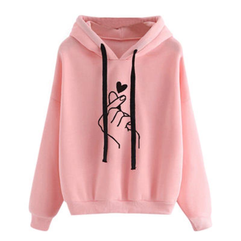 Fashion Women Long Sleeve Hoodie Casual Finger Heart Print Sweatshirt Autumn New Hooded Pullovers