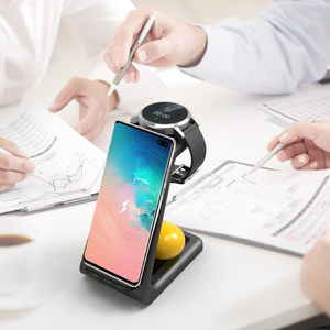 Image 4 - 3 In 1 10W QI Wireless Charger For Samsung S8 Note 9 iPhone 8 Fast Charger Wireless Dock Station For Samsung Watch Galaxy Buds