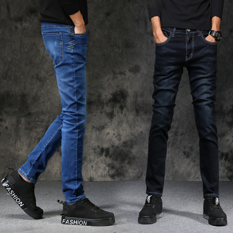 New Style Autumn And Winter Men's Jeans Versatile Korean-style Elasticity Slim Fit Skinny Pants Black And White With Pattern Cas