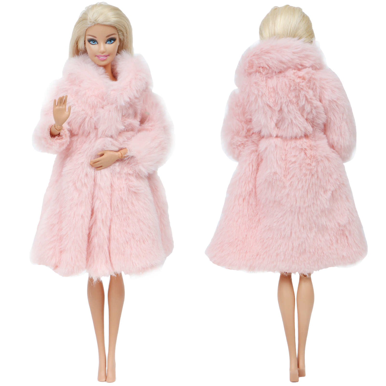 One Pcs Pink Wool Coat Noble Winter Wear High Quality Fashion Dress Accessories Clothes For Barbie Doll Dollhouse Kids Girl Toy