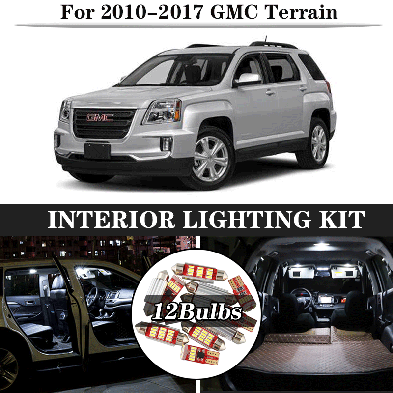 12Pcs White Canbus LED Lamp Car Bulbs Interior Package Kit For  2010-2017 GMC Terrain Map Dome Trunk Plate Light