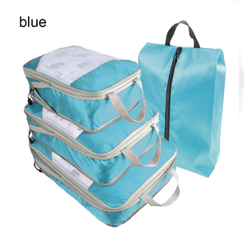 1pc/4pcs Compression Packing Cube Nylon Storage Bag Foldable Organizer Durable Travel Luggage Bag Wholesale for Shoes Clothes