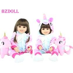 55 см полностью силиконовая кукла для новорожденных, кукла для девочек Boneca, виниловая кукла для новорожденных принцесс, для малышей, платье д...