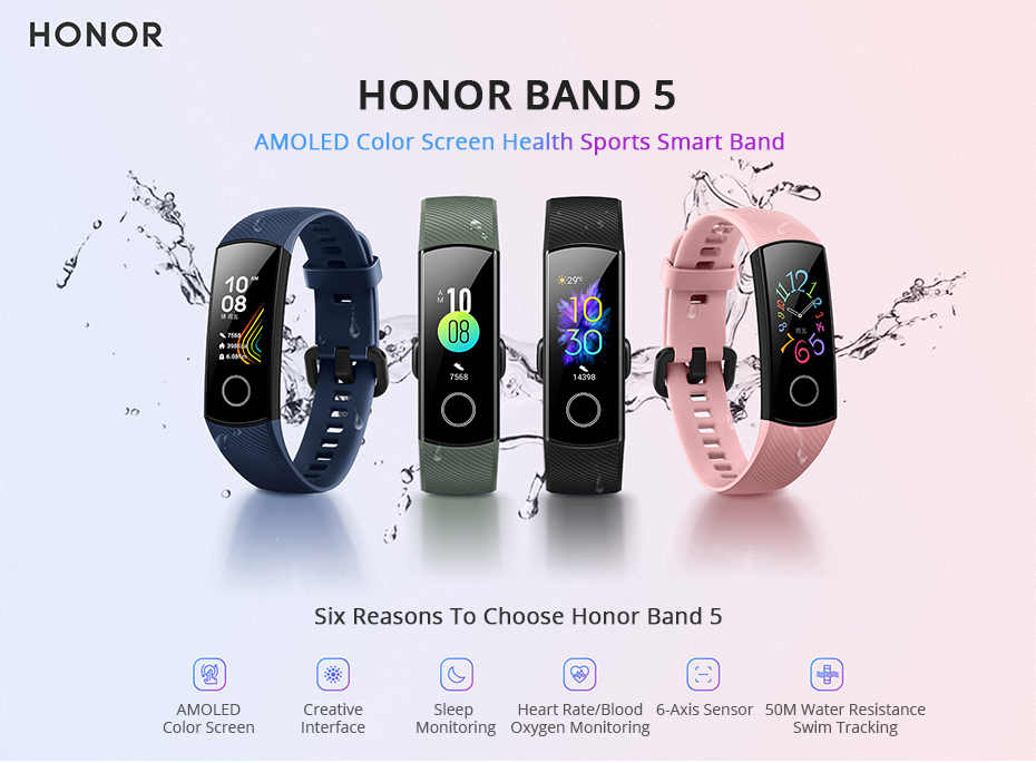 Honor Band 5 Smart Band Global Version Blood Oxygen Heart Rate Monitor Fitness Tracker 0.95'' AMOLED Screen 5ATM Waterproof