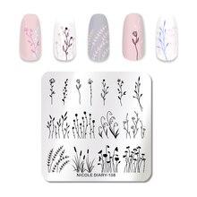 Nicole Dagboek Planten Nagel Stempelen Plaat Ijs Afbeeldingsstempel Sjablonen Bloemen Nail Art Stencils Print Gereedschap
