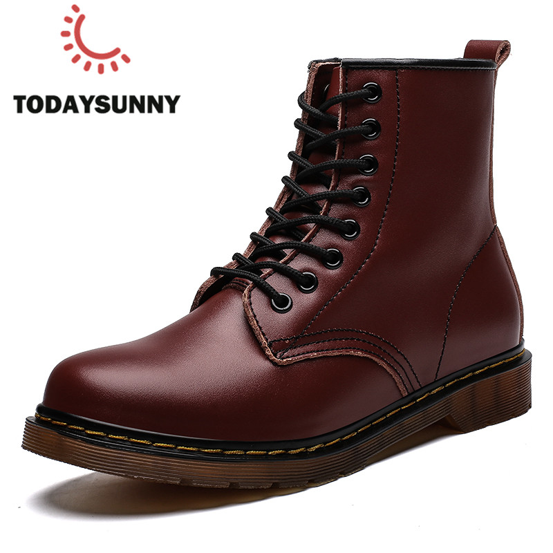 Men Genuine Leather Boots Martens Ankle Boots For Women Work Safety Boots Couple Warm Winter Fur Boots Motorcycle Botas Homre