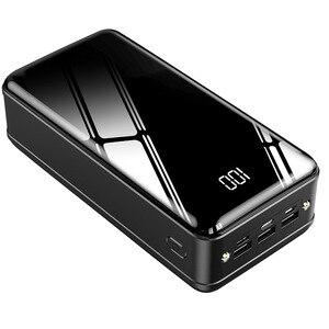 Большая емкость 50000 мАч Внешний аккумулятор USB TYPE-C зарядное устройство для телефона цифровой дисплей фонарик повербанк