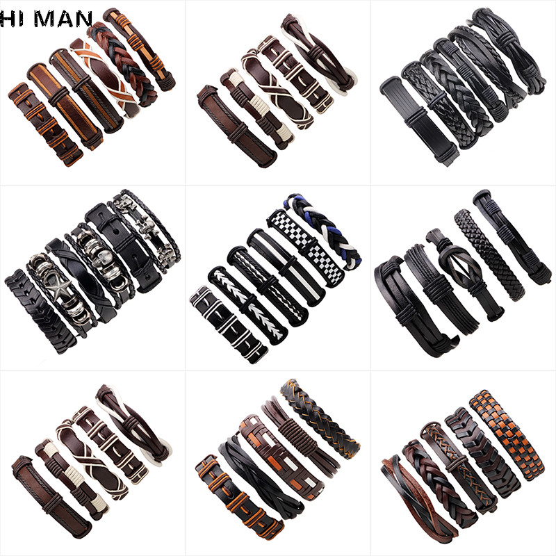 New Design Vintage Multi-layer Leather Bracelet Men Fashion Glamour Jewelry Wristband Armband Heren Friendship Gift Wholesale
