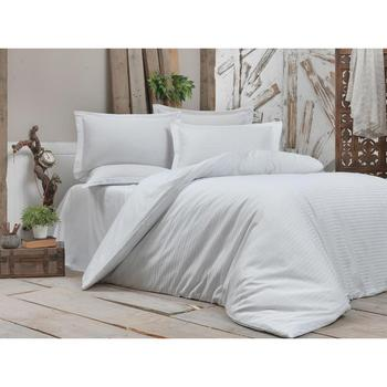 Land Of dowry Stripe Water Green Cotton Satin Duvet cover set Double Personality