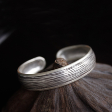 925 Sterling Silver Retro Fashion Open Fashion Women's Bracelet Thai Handcrafted Trendy Bracelet Size 12.2 Weight 18G 925 sterling silver thai handcrafted individual trendy leaf frosted fine bracelet creative feather lady s ring accessories