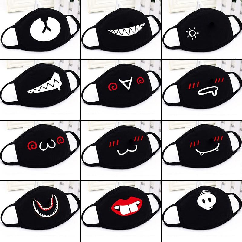 Mouth Face Mask Kawaii Cartoon 1PCS Black Cotton Dust Mask High Quality Cartoon Expression Lady Men Marvel Mask