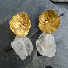 Moda ouro cor grande folha flor brincos vintage branco pedra gota balançar brinco para acessórios femininos jóias de casamento