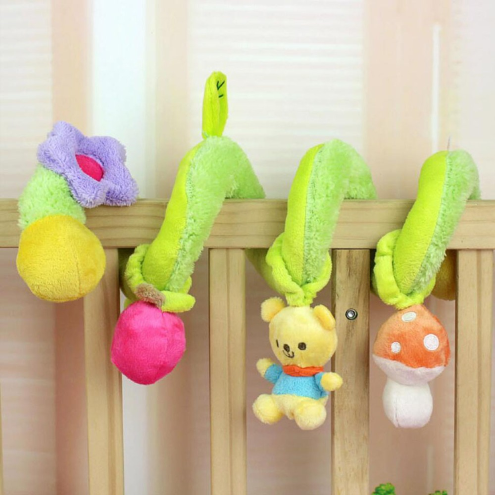 1Pc New Green Bear Infant Plush Toys Baby Rattles Crib Revolves Around Bed Around Stroller Playing Toy Lathe Hanging Baby