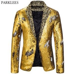 Image 4 - Mens Blazer Coat Shiny Sequin Blazer Men Luxury Wedding Singer Prom Glitter Mens Suit Jacket Club DJ Stage Blazer Masculino