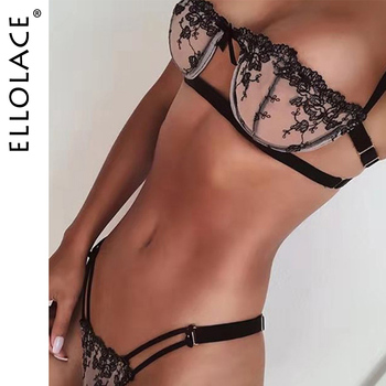 Ellolace Sexy Embroidery Lingerie Set Lace Bra and Party Set Transparent Women's Underwear Bra Set See Through Lingeries Set see through mesh lace bra panty set milf