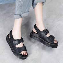 Woman Sandals Platform Fashion Shoes Flat-Bottom Comfortable Summer Velcro Embroider
