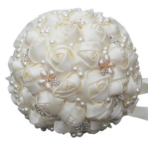 Image 2 - WifeLai A 6 Styles Ribbon Rose Wedding Bouquet Handmade Rhinestone Holding Flowers Bridal Bridesmaid Bouquet Pearl Buque Noiva