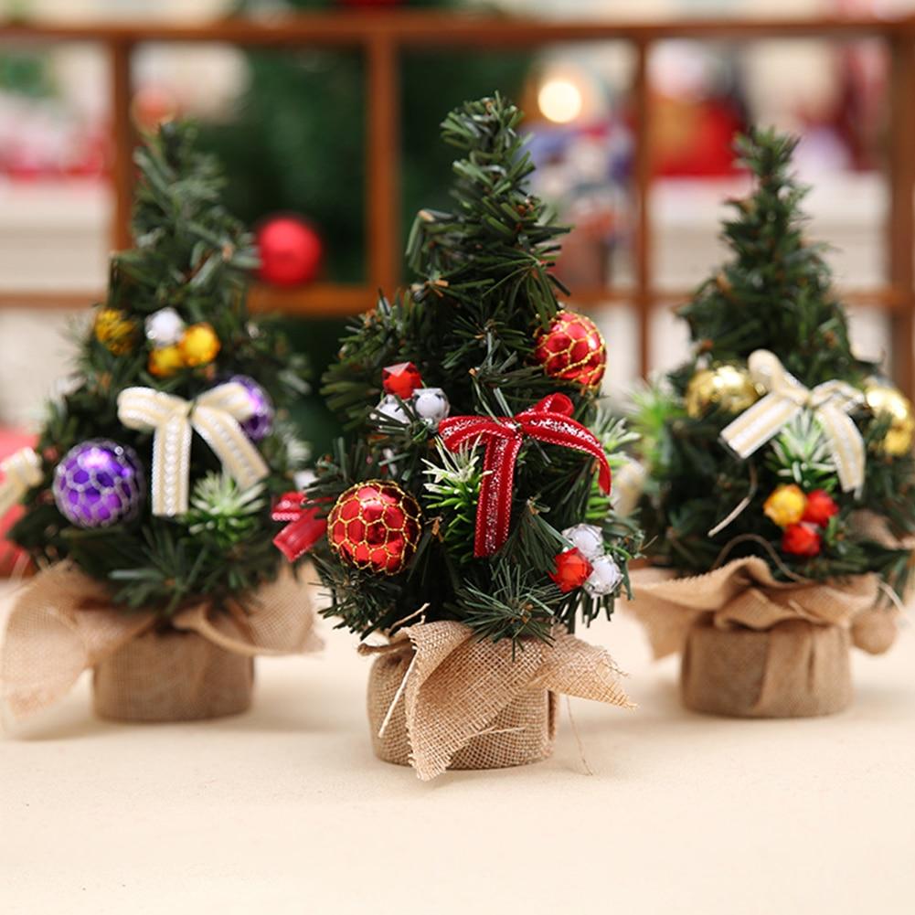 Artificial Tabletop Mini Christmas Trees Figurines Xmas Landscape Figurine Dolls House Tree Miniatures Home Decorations