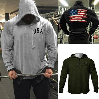 Mens Fitness Back Vintage American Flag Bodybuilding Raglan Hoodies Sweatshirt High Quality Hem-Cut Tracksuit Top Free Shipping