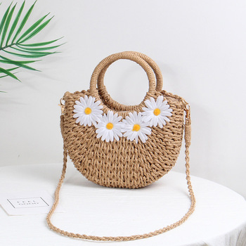 Designer Handmade Daisy Women's  Straw Bag Bohemian woven crossbody bags Wicker Woven Lady Shoulder Beach handbags Purse New