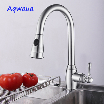 Aqwaua Kitchen Faucet 1 Set Flexible Mixer Polished Chrome Single Handle Pull Down Spout Crane Tap Hot And Cold Water