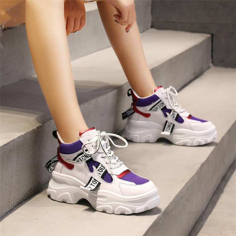 2019 Spring New Leather Women's Platform Chunky Sneakers Fashion Women Flat Thick Sole Shoes Woman Dad Footwear