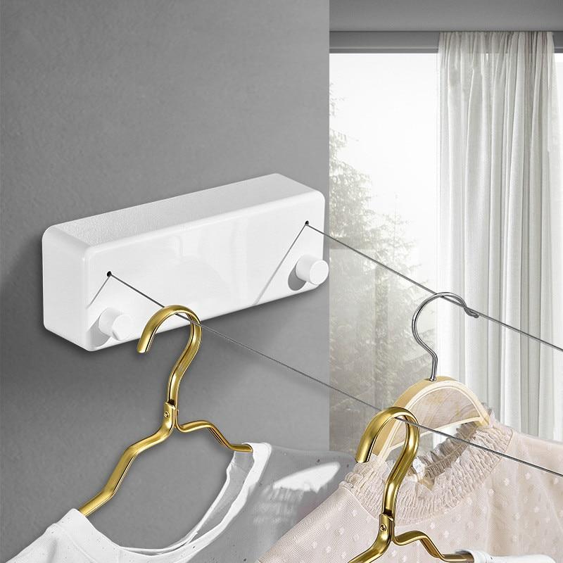 Linha de roupa interior wy41002 da lavanderia do gancho da parede da corda do aço do secador de roupa retrátil fixado na parede do varal da fileira dobro|Varais| - AliExpress