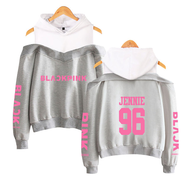 2019 black pink Off-Shoulder Top Hoody Funny Women's Hip Hop Casual Long-sleeved cotton  Hoodies & Sweatshirts 3