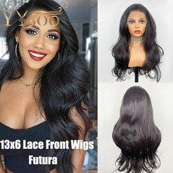 YYsoo negro futuro pelo 13x6 peluca frontal de encaje sin pegamento 6 pulgadas de corte de onda larga del cuerpo pelucas sintéticas para las mujeres pelo Natural