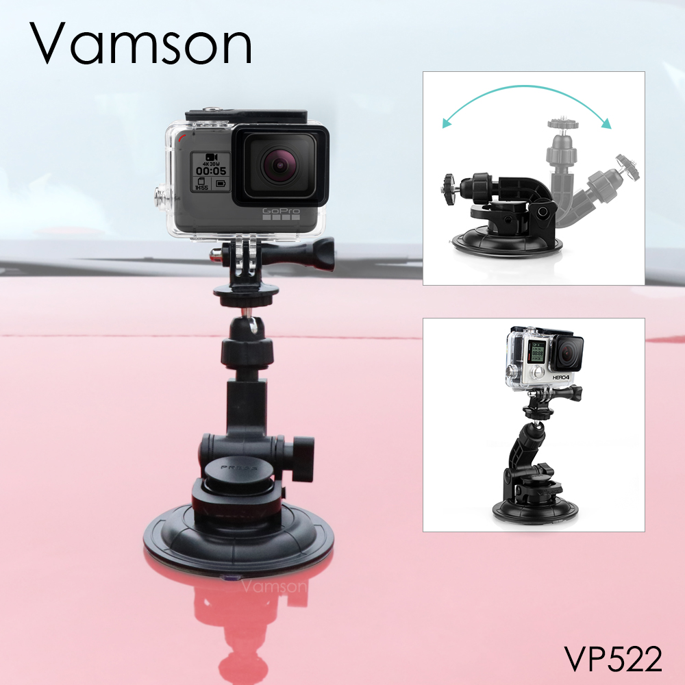 Vamson for Go Pro Hero 8 7 6 5 9CM Diameter Car Suction Cup Tripod Base Mount For Gopro Accessories for SJ4000 for Xiaomi VP522