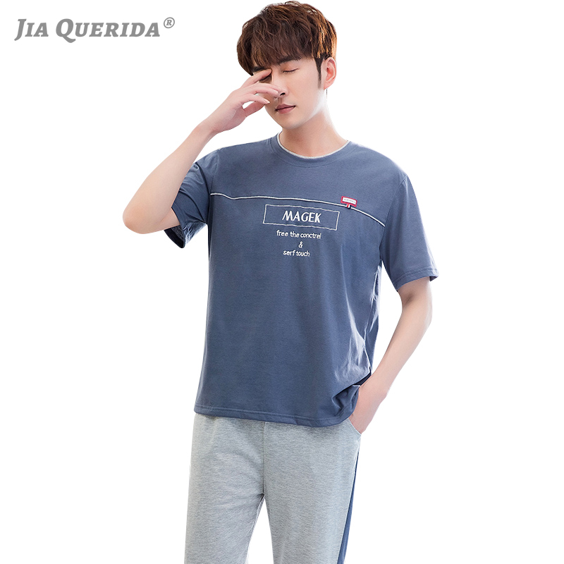 Sporty Mens Pajamas 2020 Pj Summer Short Big Size Pyjamas Long Pants Shorts Sleeves Pijama Hombre Smart Casual Home Clothing New