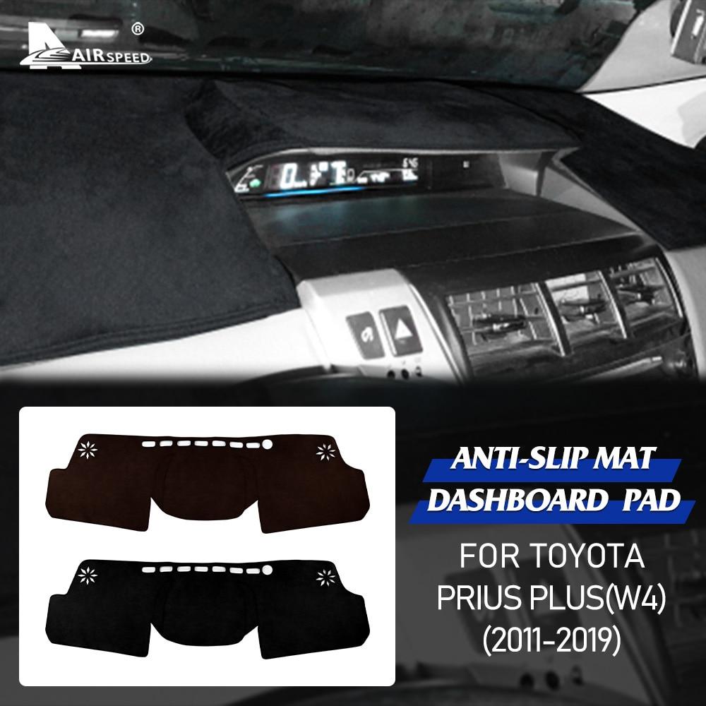 AIRSPEED Flannel for Toyota Prius Plus W4 2011-2019 Accessories Interior Anti Slip Mat Dashboard Pad Anti UV Sunshade Dashmat