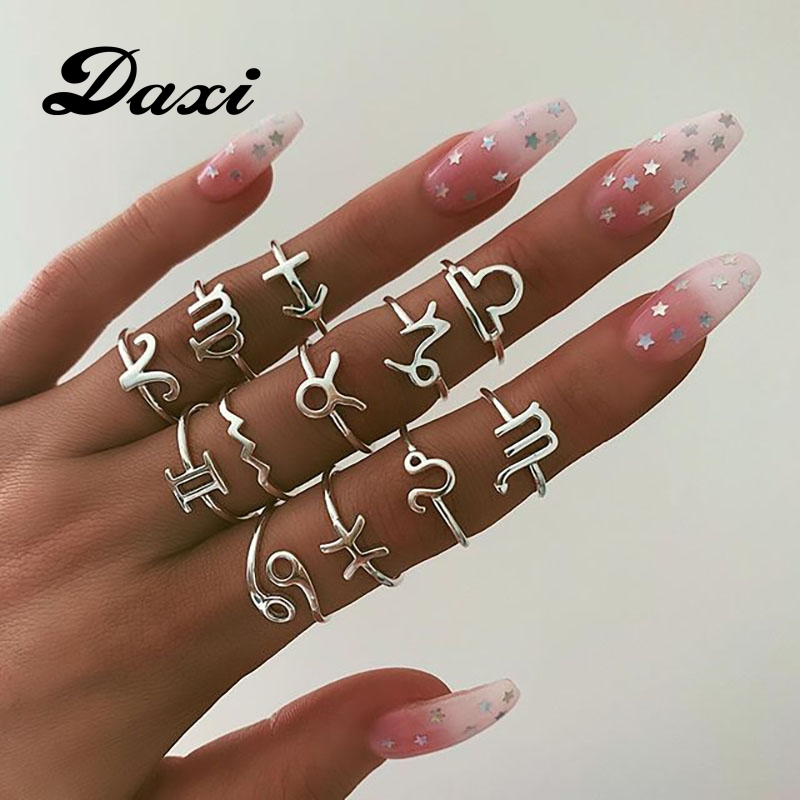 DAXI Vintage 12 Constellations <font><b>Rings</b></font> For Women Silver Color Finger <font><b>Couple</b></font> <font><b>Ring</b></font> <font><b>Set</b></font> 2019 Anillos Female Statement Fashion Jewelry image