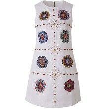 2019 Designer Summer Floral Appliques Print Diamonds Women Vest White Jacquard Dresses Vestidos Robe Femme Dress
