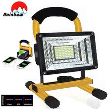 100W 24/48 LED Portable Spotlight Super Bright 100000LM Work Light Outdoor Camping Floodlight Searchlight Rechargable For Garden