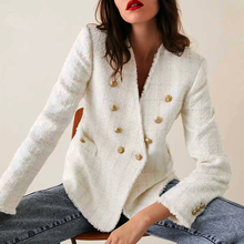 KHALEE YOSE Beige Woolen Jacket Coat Autumn Winter 2019 Plaid Suit Blazer Long Sleeve Button Front Pocket Chic Outerwear