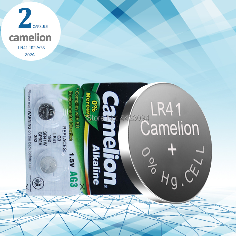 2pcs LR41 Button Cell Batteries Camelion 100% Original SR41 AG3 G3A L736 192 392A Zn/MnO2 1.5V Lithium Coin Batteries
