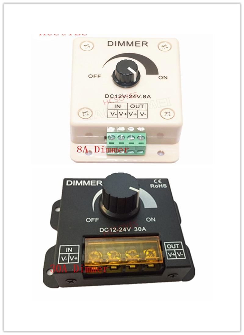 8A/30A LED Dimmer DC 12V 24V 360W Adjustable Brightness Lamp Bulb Strip Driver Single Color Light Power Supply  5050 3528