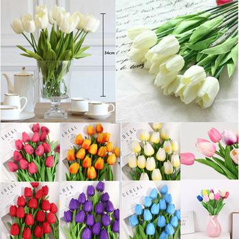 Więcej kolorów 10 sztuk partia tulipan sztuczny kwiat fałszywy kwiat prawdziwy dotyk bukiet na wesele strona główna wystrój na zewnątrz szybka dostawa tanie i dobre opinie CN (pochodzenie) normal Sztuczne kwiaty Bukiet kwiatów Ślub Np0236 Multi Total Length 34cm China 10pcs