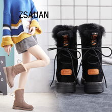 ZSAUAN Winter Women Snow Boots Fashion Cow Suede Leather Round Toe Womens High Top Female Girl Warm Furry Shoes