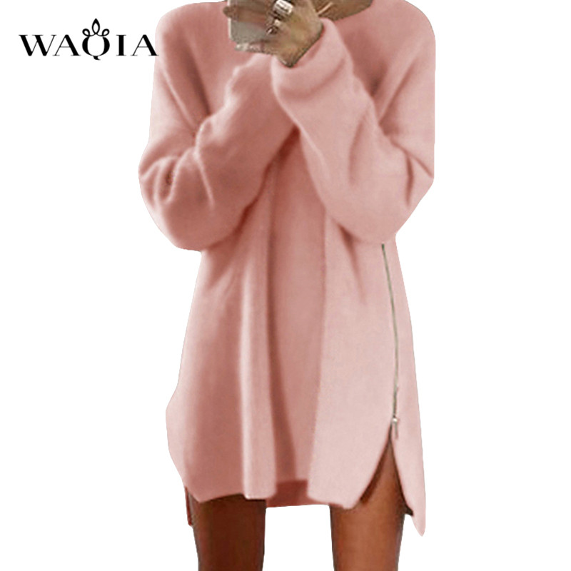 Autumn Winter Knitted Cotton Sweater Dresses Women  Loose Round Neck Solid Pullover Female Knitted Dress Vestidos Plus Size