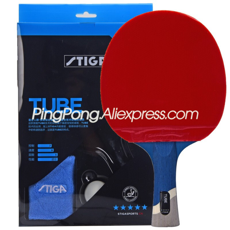 (Ship In Original Box) STIGA TUBE 5-Star Table Tennis Racket With Rubber Stiga 5-Star TUBE Ping Pong Bat Gift Set