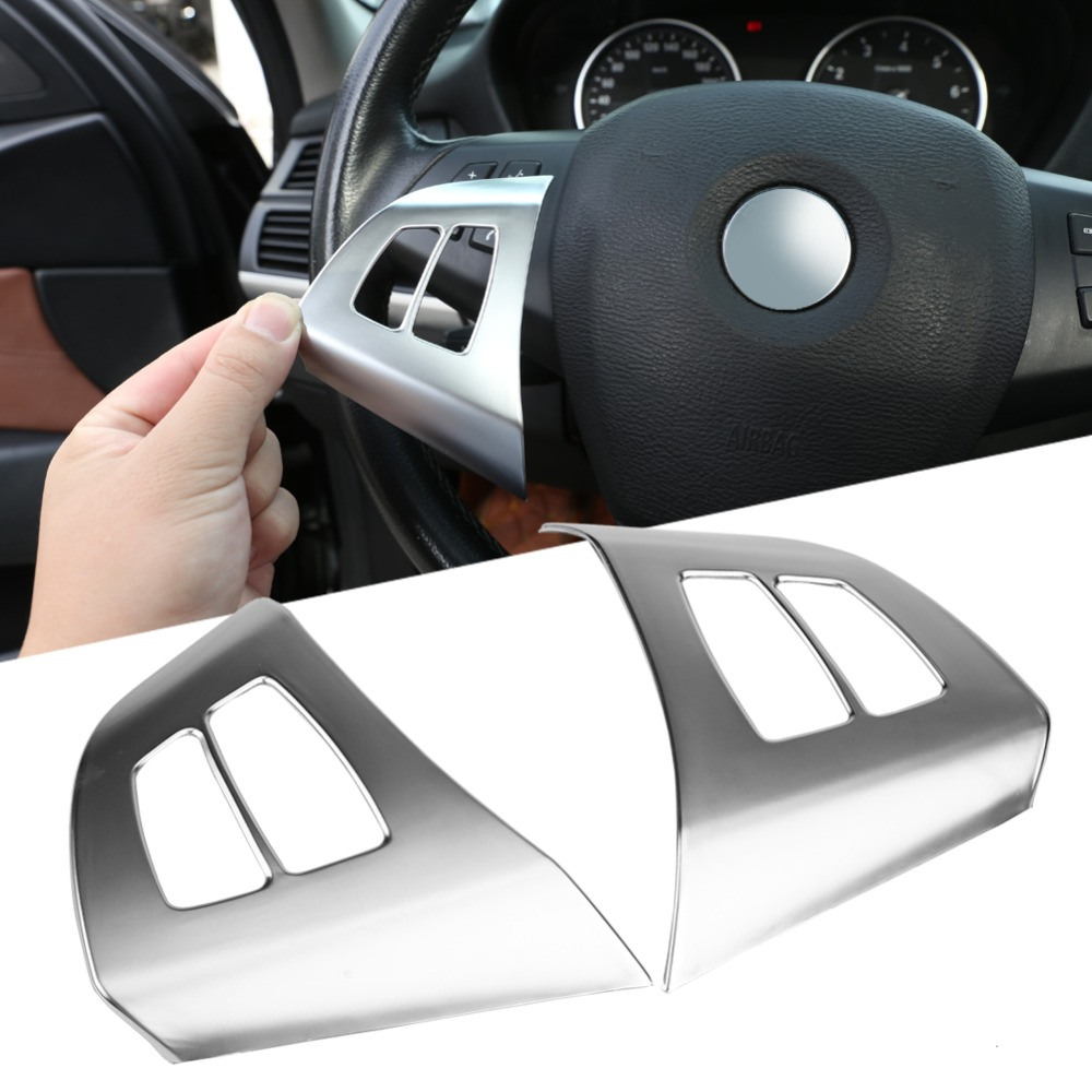 2pcs Silver Chrome ABS Car Auto Steering Wheel Button Frame Decoration Cover <font><b>Trim</b></font> for <font><b>BMW</b></font> X5 <font><b>E70</b></font> 2008 2009 2010 2011 2012 image